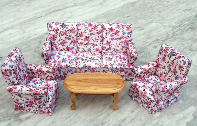 Couchgarnitur Wohnzimmer, puppenhaus couchgarnitur sofa, sessel, tisch flowers möbel, Design ideen