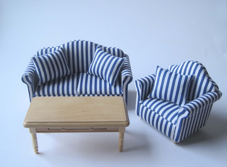 Couchgarnitur Sofa, Sessel, Tisch Puppenhaus Möbel Wohnzimmer ...