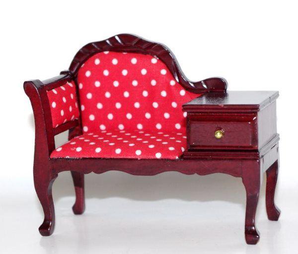 Nachtschrank mit Schublade 1:12 Möbel Weiß Puppenhaus Miniatur