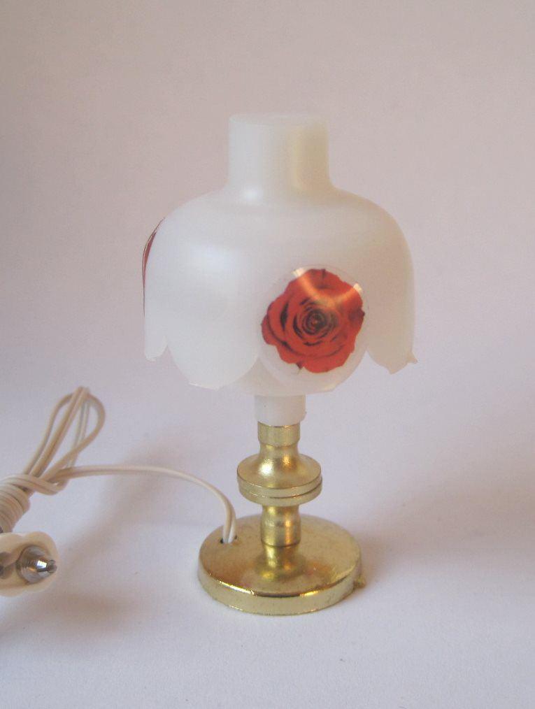 Tischlampe mit blumendekordekor miniaturlampe f r for Lampen puppenhaus