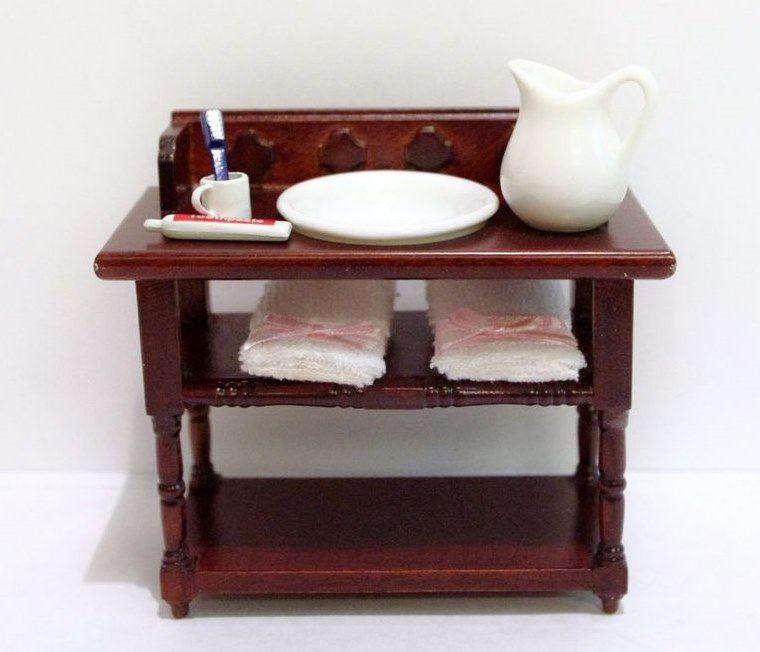 badezimmer waschtisch braun mit handt cher krug sch ssel puppenhaus m bel miniatur 1 12 lafeo. Black Bedroom Furniture Sets. Home Design Ideas