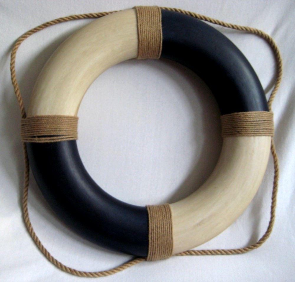 rettungsring blau creme styropor bemalt 36cm antikdesign von. Black Bedroom Furniture Sets. Home Design Ideas
