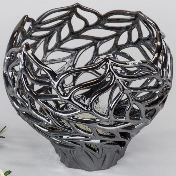 Formano deko pflanzgef aus keramik platin 30 x 27 cm for Nostalgische gartendekoration