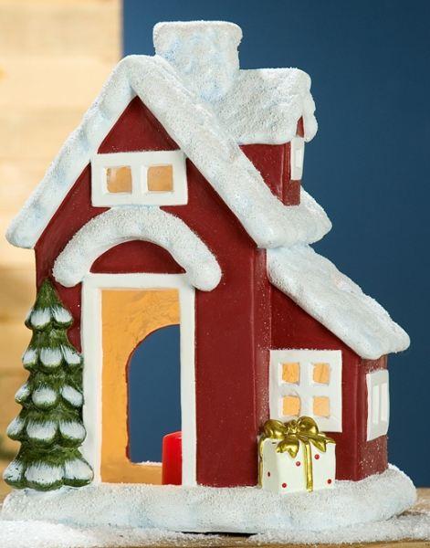 deko haus als windlicht mit tannenbaum rechts rot wei 41 cm von gilde. Black Bedroom Furniture Sets. Home Design Ideas