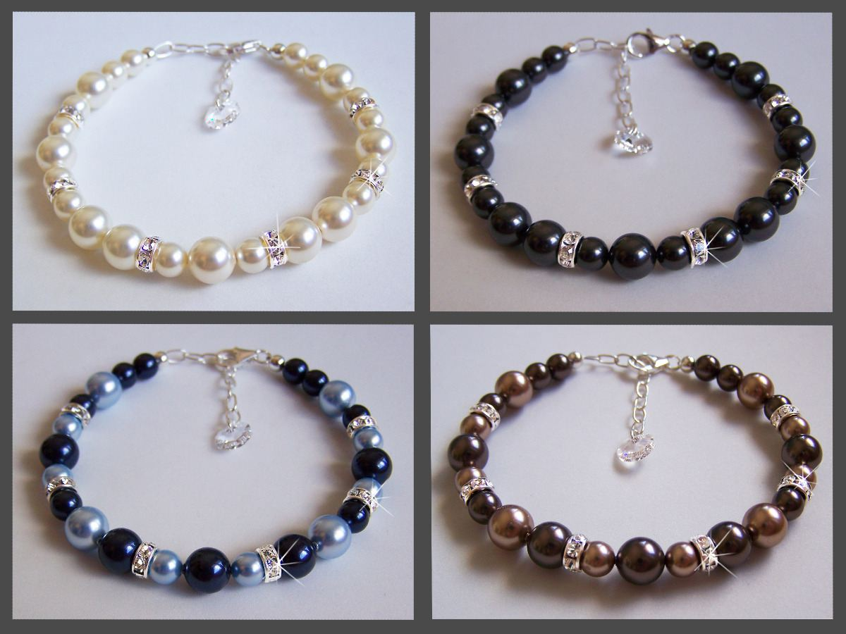 Perlenarmband mit Strass-Element Farbwahl