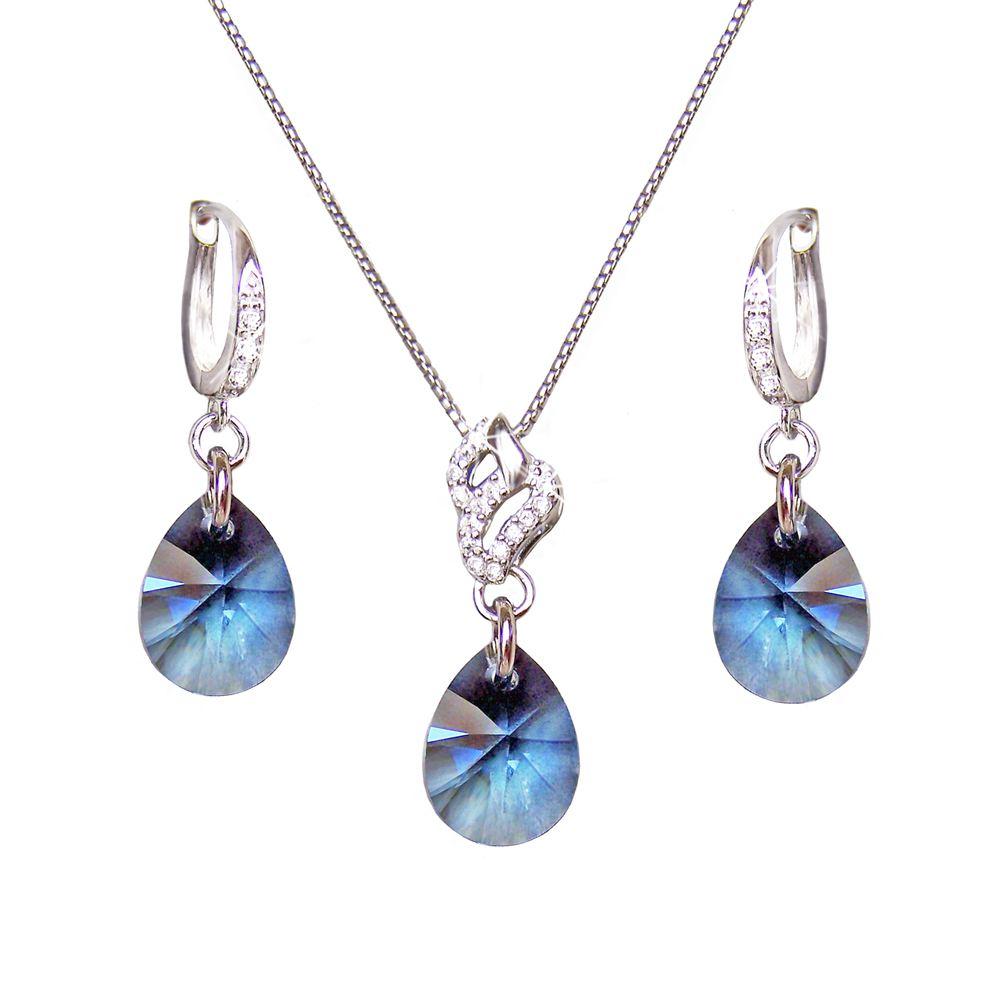 filigranes schmuckset mit swarovski kristall tropfen in der farbe denim blue blau 925 silber. Black Bedroom Furniture Sets. Home Design Ideas