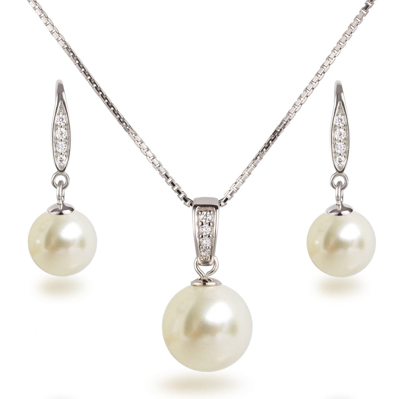 Perlen Schmuckset, Ohrhänger und Halskette mit Anhänger, 925 Silber ...