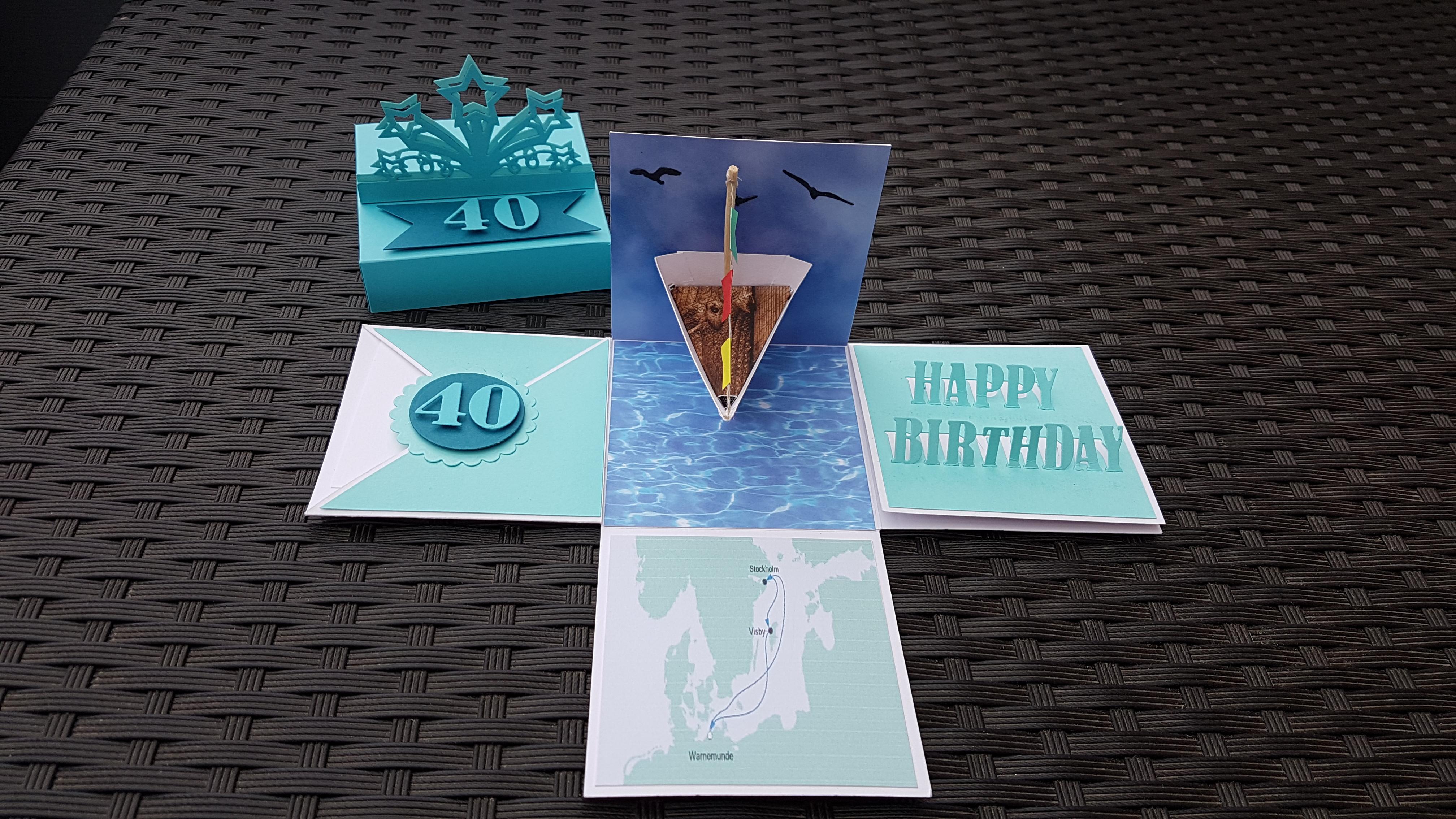 Explosionsbox Kreuzfahrt Geburtstag Handgearbeitet