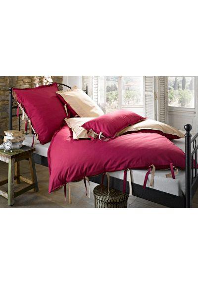 2 tlg bettw sche 80 80 cm 135 200 cm 155 200 cm farbe rot natur. Black Bedroom Furniture Sets. Home Design Ideas