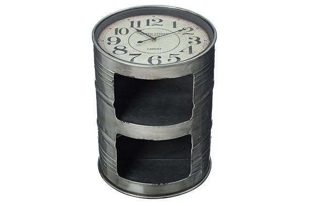 Beistelltisch mit uhr couchtisch ablagetisch tisch fass for Couchtisch rund glas metall