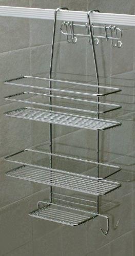 duschregal 3 b den duschkorb duschablage metall rostfrei h ngeregal ohne bohren. Black Bedroom Furniture Sets. Home Design Ideas