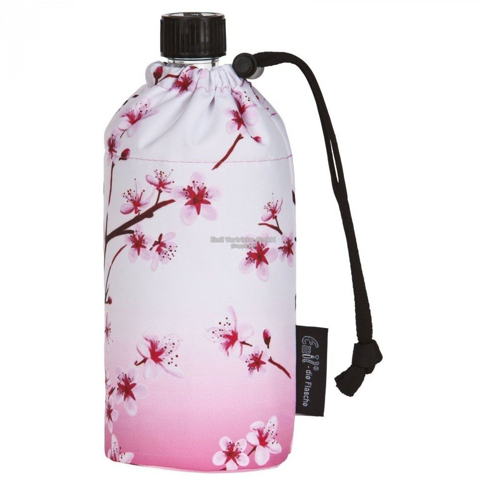 flasche 0 6 liter kirschbl te rosa glasflasche. Black Bedroom Furniture Sets. Home Design Ideas