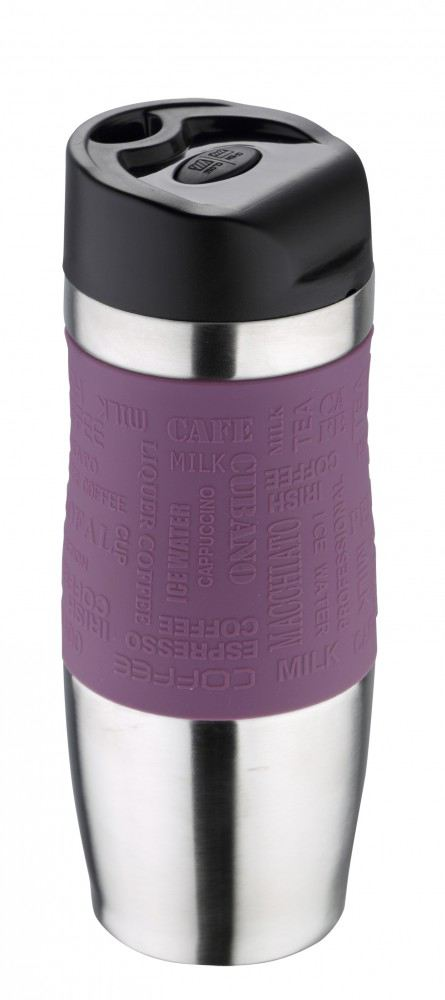 thermobecher violett edelstahl 400 ml thermo becher isolierbecher coffee to go kaffeebecher deckel. Black Bedroom Furniture Sets. Home Design Ideas