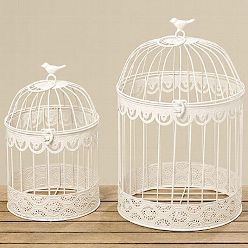 deko vogelk fig 2er set wei dekoration shabby chic vintage vogel k fig dekok fig metall rund. Black Bedroom Furniture Sets. Home Design Ideas