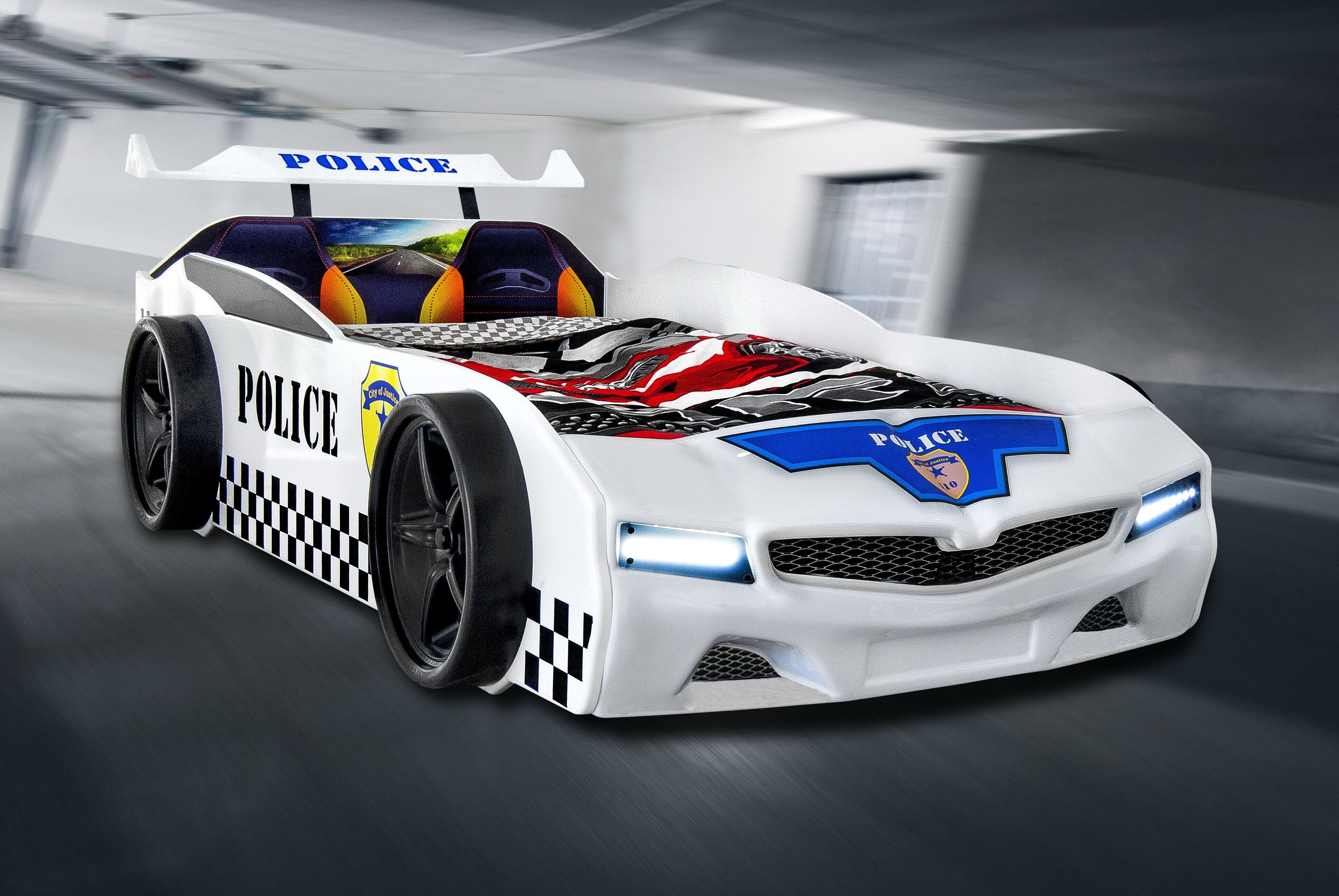 Autobett Police Polizei Kinderbett in weiß mit LED und ...