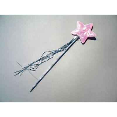 Feenstab rosa mit silbernen Baendern